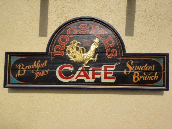 Rooster Cafe Hand Painted Sign Nautical Art Home Bar