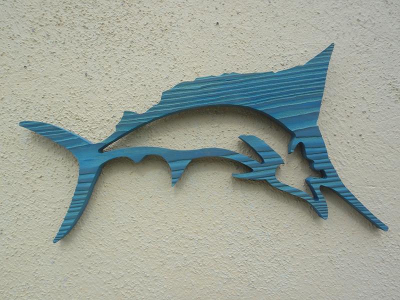 Blue marlin wall decor : Routed wood marlin wall hanging nautical art home bar