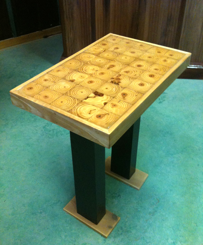 We Built This Pedestal Style Block Top Table Using The End Grain From Two  White Pine Posts. The Top Is 3u2033 Thick, Assembled Butcher Block Style And  Finished ...