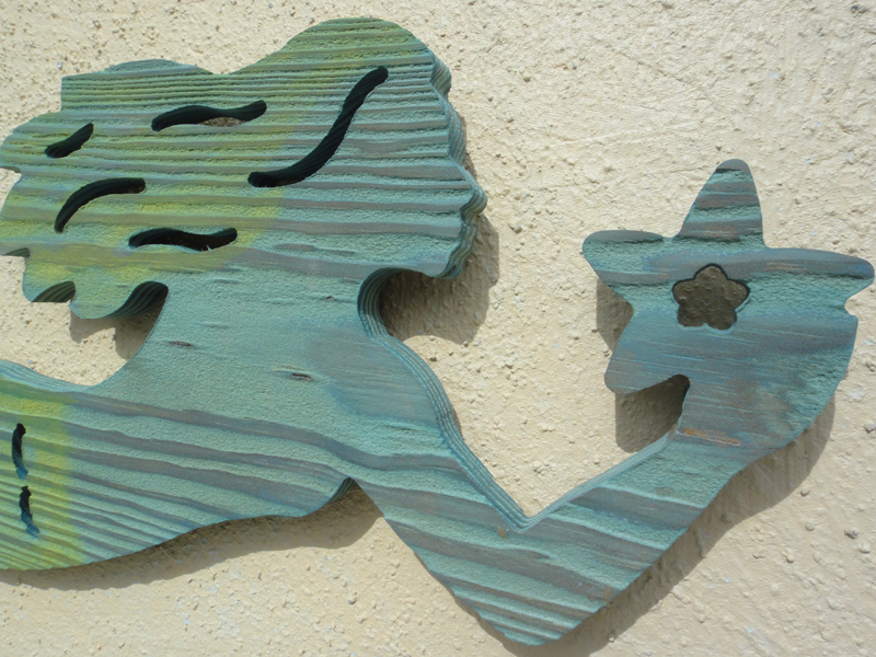 Routed Wood Mermaid Wall Hanging
